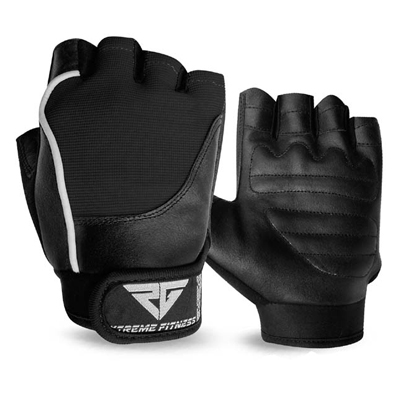 Weight Lifting Gloves Leather Gym Fitness Body Building Unisex Design Gloves All Black