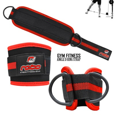Weight Lifting Gym Ankle D Ring Strap Pulley Cable Attachment Leg Thigh Exercise - Black/Red