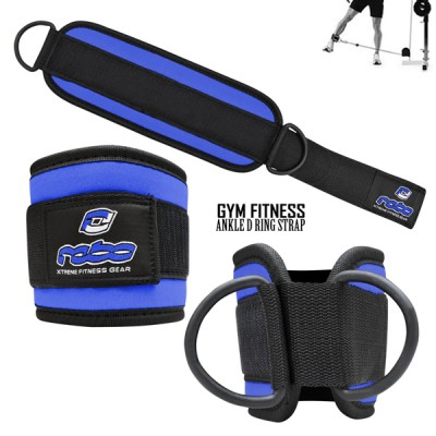 Weight Lifting Gym Ankle D Ring Strap Pulley Cable Attachment Leg Thigh Exercise - Blue