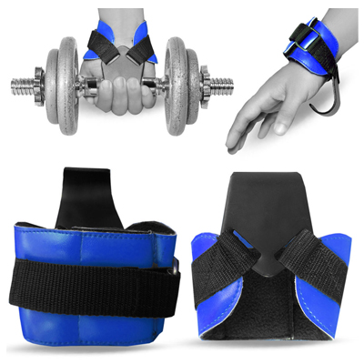 Weight Lifting Hooks Reverse Grips Gym Training Bar Straps Gloves Wrist Support - Blue