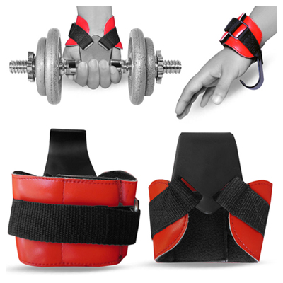 Weight Lifting Hooks Reverse Grips Gym Training Bar Straps Gloves Wrist Support - Red